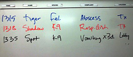Triage list on whiteboard in ER